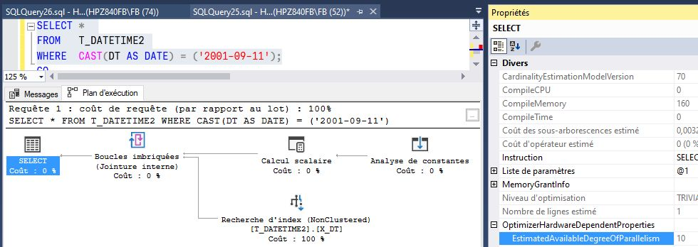 Plan d'exécution et parallélisme SQL Server