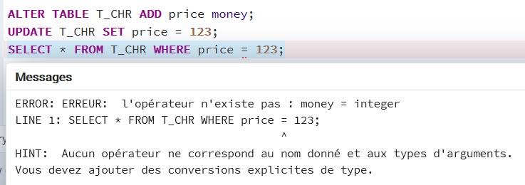 Incorrecte datatyping in PostGreSQL: money can't be find